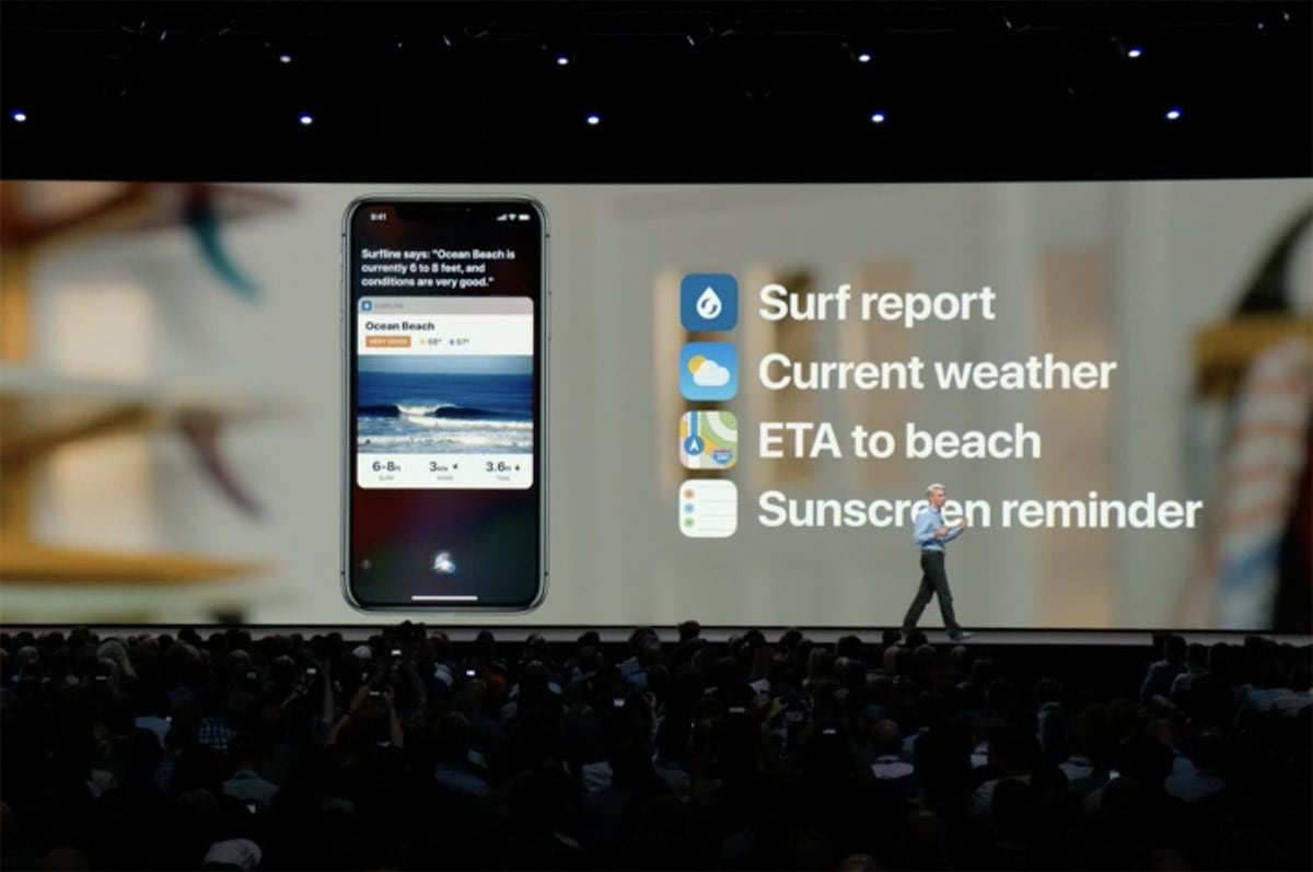 example actions in a Siri Shortcut series