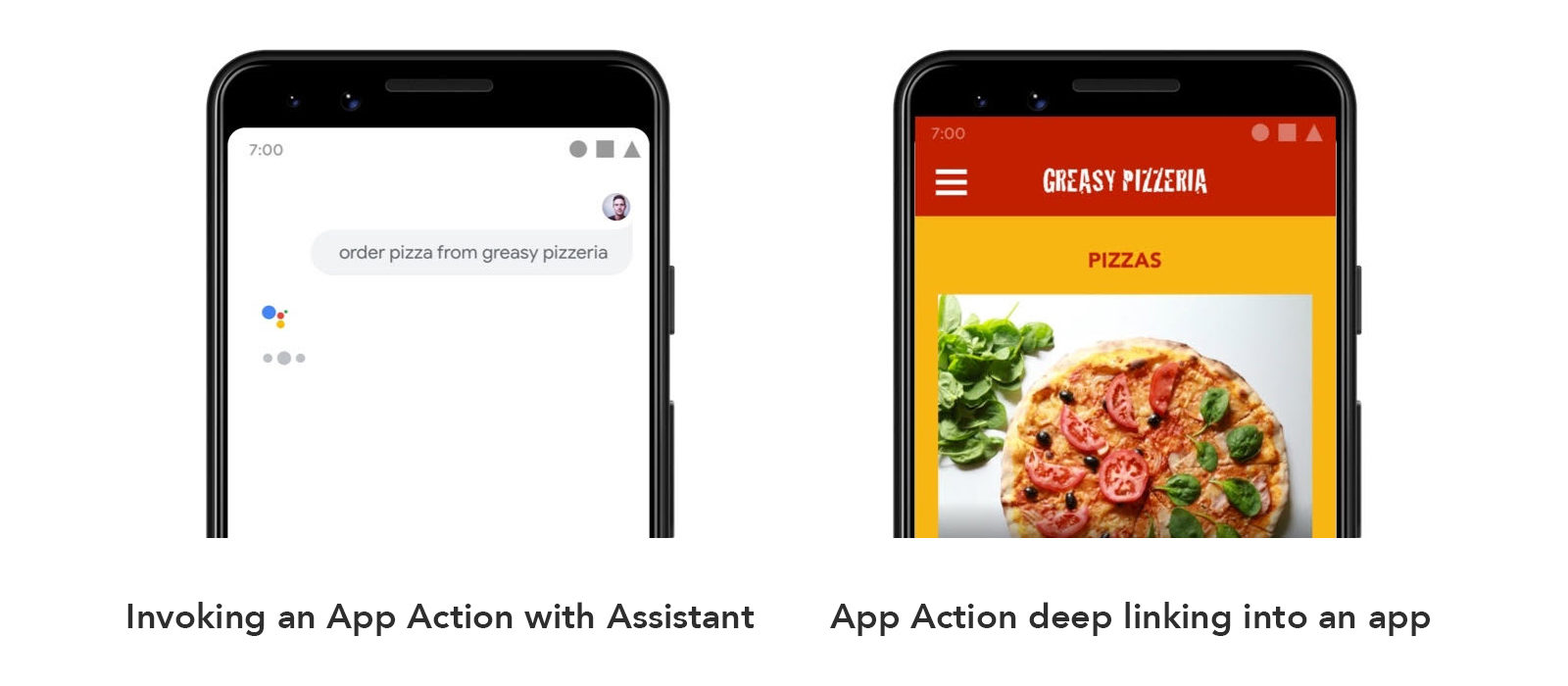 examples on android of interacting with Google Assistant to access an App Action and how the next step would appear after deep linking into a mobile app