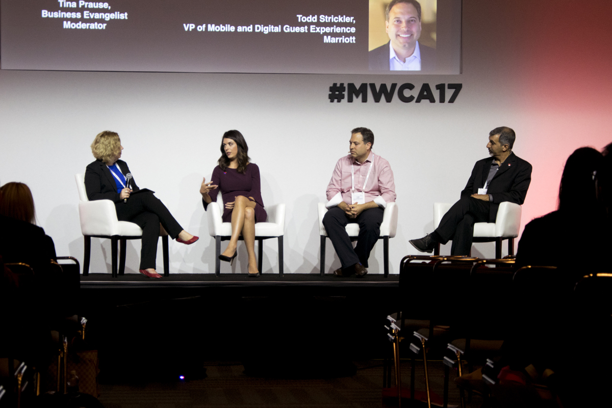 Todd Stricker with Marriott, Scott Cuppari with Coca-Cola Freestyle and Dorothy Jensen from Southwest Airlines at MWCA17