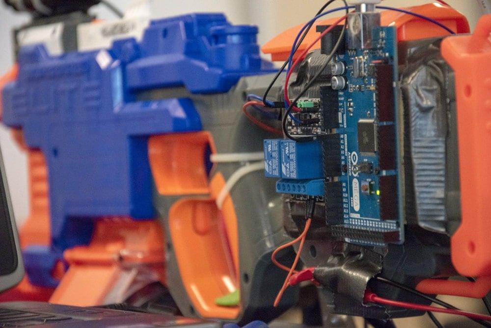 NERF gun altered to include Arduino hardware
