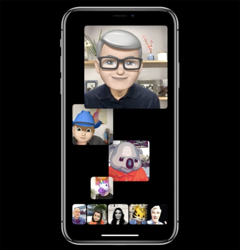Tim Cook and other Apple employees using Facetime and the new memojies