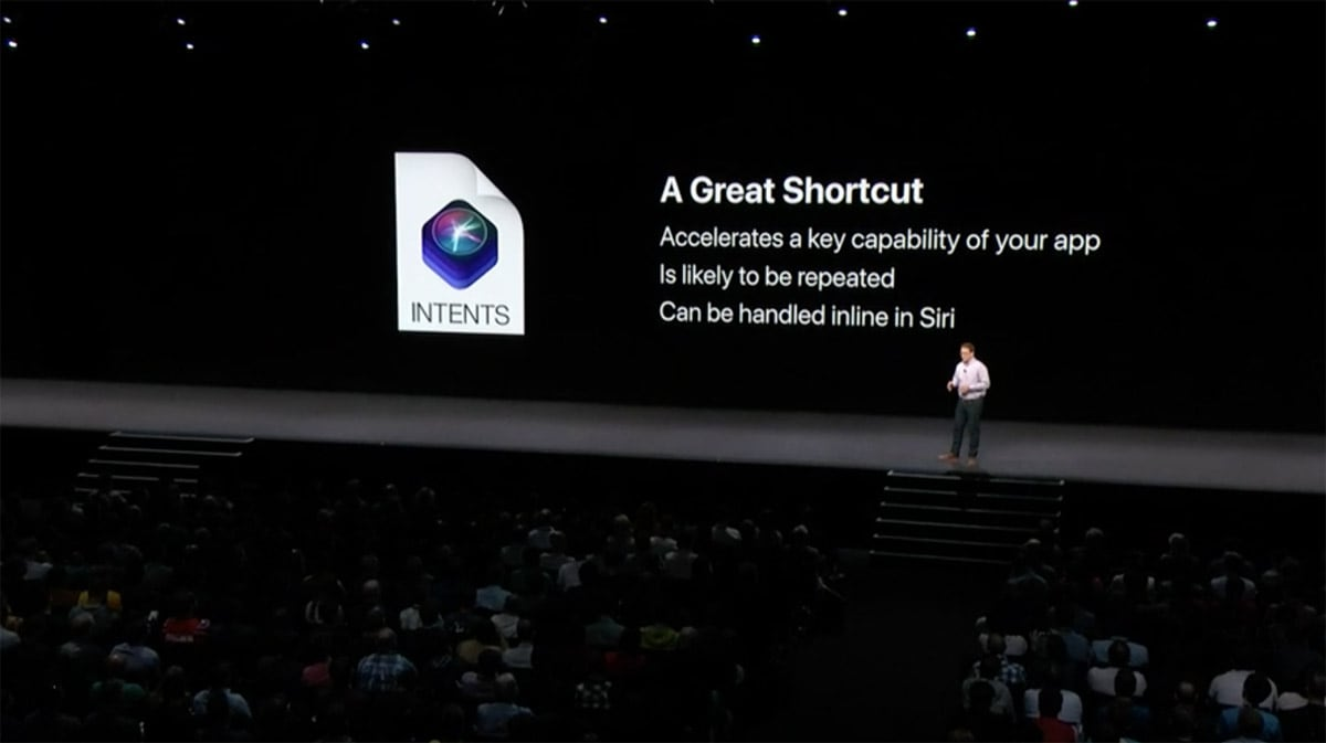Platform State of the Union keynote slide explaining the best uses for Siri Actions