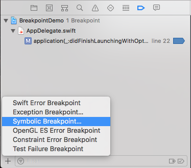 selecting symbolic breakpoint in breakpoint navigator
