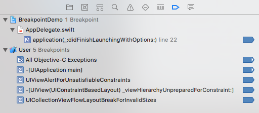 checking the 5 breakpoints in breakpoint navigator