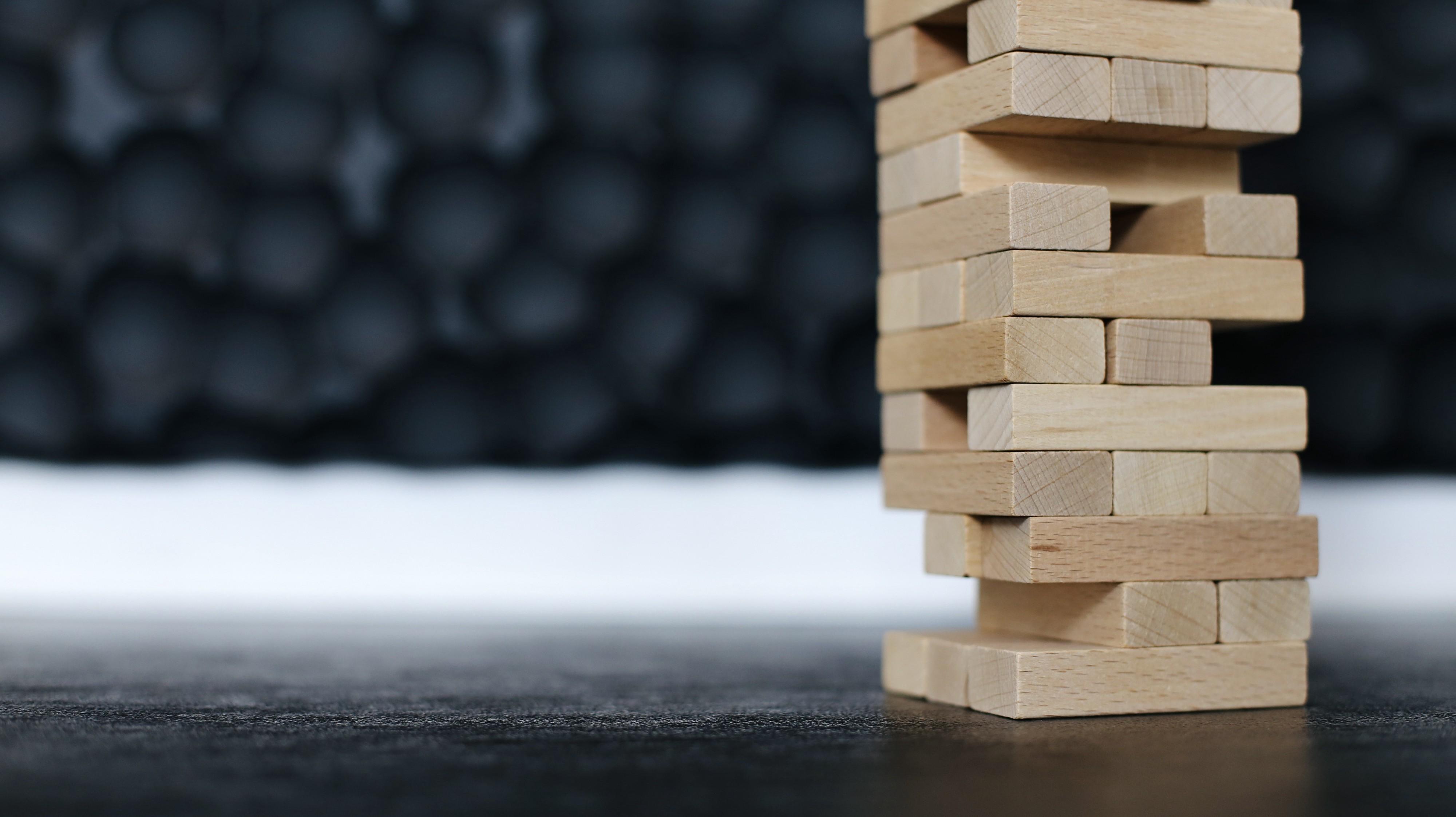 Towering stack of balanced blocks.